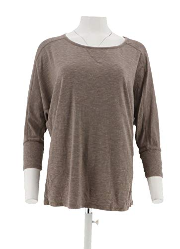 AnyBody Loungewear 3/4 SLV Cozy Knit Dolman SLV Top Heather Mocha M New A286587