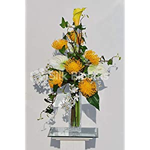 Silk Blooms Ltd Artificial Yellow Protea and Dendrobium Orchid Vase Arrangement w/Anthuriums and Foliage 79