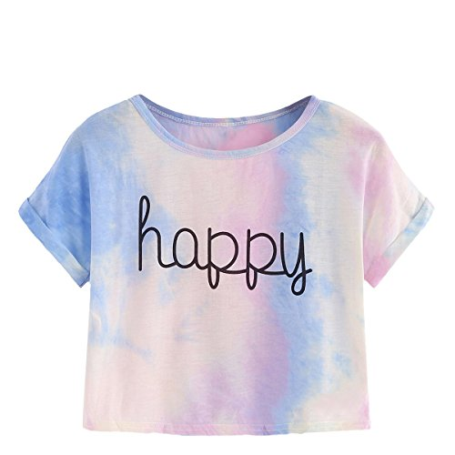SweatyRocks Women's Tie Dye Letter Print Crop Top T Shirt Tie Dye #1 M (Girls Size 10 Crop Top)