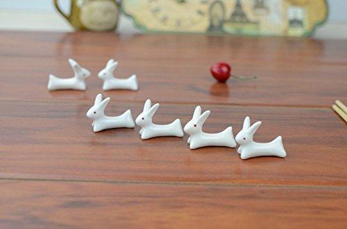 VANCORE 8 Pcs Set Cute Rabbit Ceramic Chopsticks Rest Rack by VANCORE (Image #7)