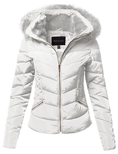 Fully Lined Petite Coat (Made by Emma Casual Solid Slim Fit Detachable Hoodie Puffer Jacket White M)