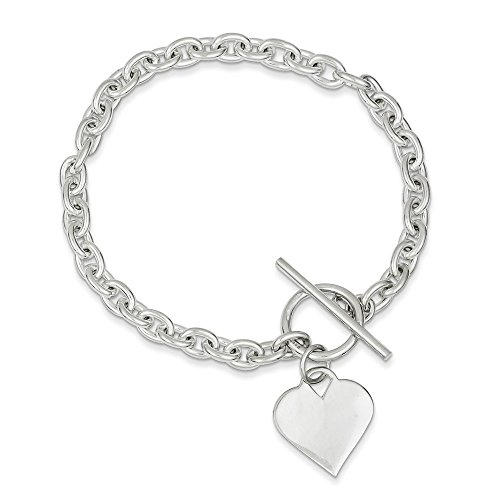 (Mia Diamonds 925 Sterling Silver Solid Heart Toggle Bracelet -8