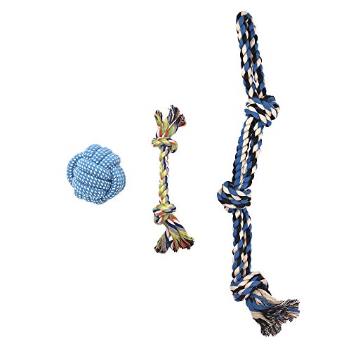 HBGiSi Natural Cotton Rope Puppy Dog Pet Chew Toys Cotton Braided Bones Rope Knot and Dog Balls For Small/Medium/Large Dogs (3) by HBGiSi