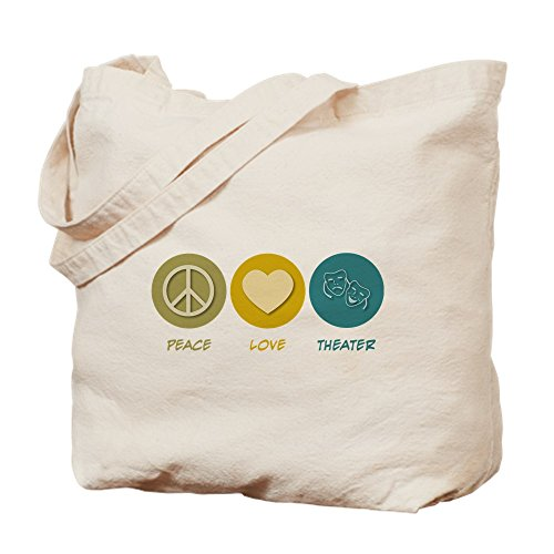 CafePress - Peace Love Theater - Natural Canvas Tote Bag, Cloth Shopping Bag by CafePress (Image #2)