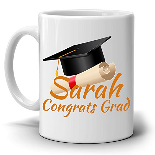 Personalized! Congrats Grad Gift Cap Coffee Mug, College Graduation Gifts for Her and Him, Printed on Both Sides!