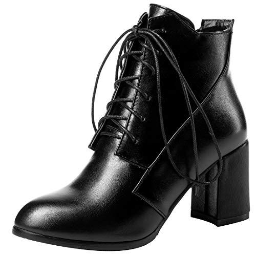 Cuir Souple Lacer Noir Juhesit Jushee Bottes Femme Bloc 7 CM Cheville n07T6q