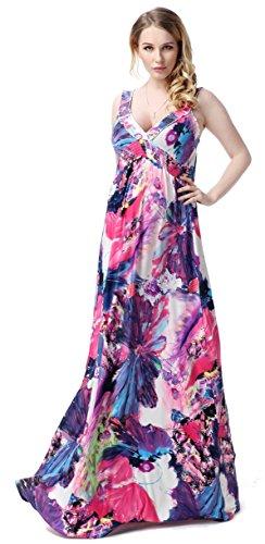 Women's High Waist Retro Elegant Summer Maxi Dresses (XL, purple)