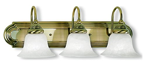 Antique Brass 3 Light 300W Bathroom Light With Medium Bulb Base And White Alabaster Glass From Belmont -