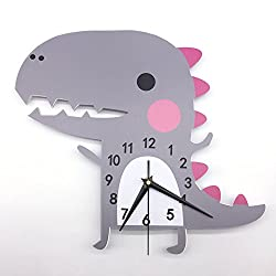 Laz Tipa 3D Animal Wall Clock Dinosaur Pattern Design Decoration Bedroom Creative Digital Watches child Wallpaper Silent clock 62 X 40cm