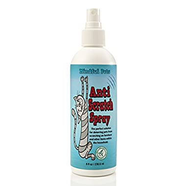 Anti Cat Scratch Bitter Spray - Stop Cat Scratching Now Naturally - By Mindful Pets, 8oz
