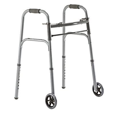 "Medline Junior Two-Button Folding Walker with 5″ Wheels, For Users 4'6"" to 5'5"""