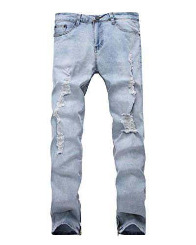 Jeans Pantalones Hellblau Fit Pantalones De Holes Rectos Mezclilla Los De Jeans Pantalones Stretch Hombres Cher De Broken Vaqueros Slim Vintage La Pierna Skinny 8q8BUOw