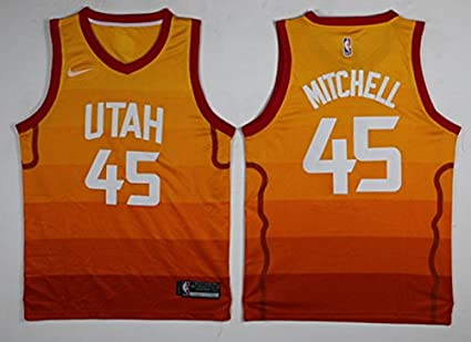 1c802c609 ... ROSIE NICOLAS Mens Donovan Mitchell Orange Break Replica Player Jersey  (orange