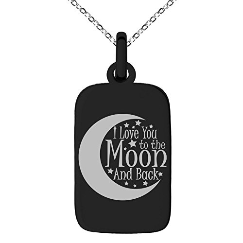 Black Stainless Steel Crescent I Love You to the Moon and Back Engraved Small Rectangle Dog Tag Charm Pendant Necklace (Pendant Tag Dog Rectangular)