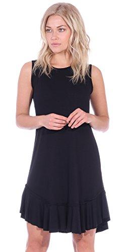 Popana Women's Casual Summer Tank Midi Dresses Knee Length Beach Sundress Made in USA - Black Large
