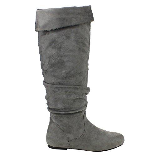 Da Viccino TOP-01 Frauen Slouch Seitlicher Reißverschluss Flach Falten Manschette Kniehohe Stiefel Grau