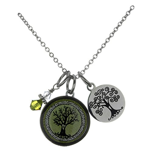 Spirit Lala Vintage Tree of Life Green Circular Reversible Pendant Necklace With (Crystal Circular Charm)