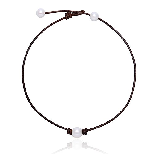 MAIMANI Handmade Single Freshwater Cultured Pearl Choker Necklace on Brown Genuine Leather Cord for - Pearls Freshwater Pearl Jewelry