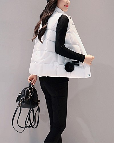 Hooded Coats Color Collar Vest Warm Women's Parka Outwear ZongSen Solid White Leisure Stand Sports xWTS8qqPgw