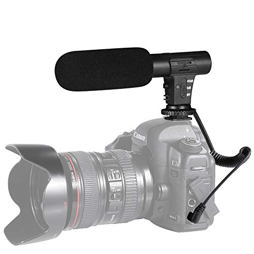 Camera Microphone, Shotory Video Recording Microphone Professional External Hypercardioid On-Camera Microphone for Nikon Canon DSLR Camera/DV Camcorder