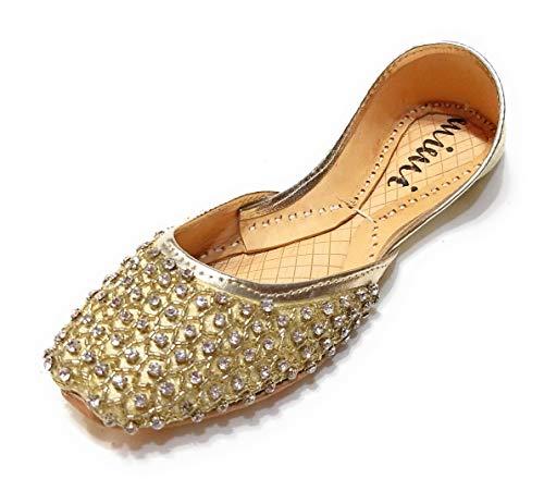 (Mimi Women's Diamond Shoes Sparkly Wedding Flats Size 6 Gold)