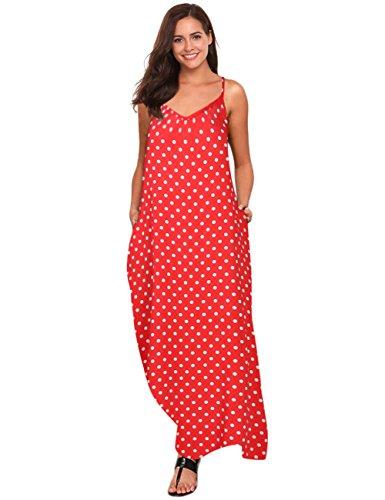 Leadingstar Women V-Neck Sleeveless Polka Dot Print Spaghetti Strap Boho Beach Maxi Dress (M, Red Polka Dot)