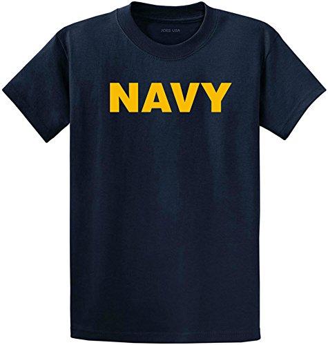 Joe's USA Navy Gold Logo Heavyweight Cotton T-Shirt-Navy/Gold-M ()