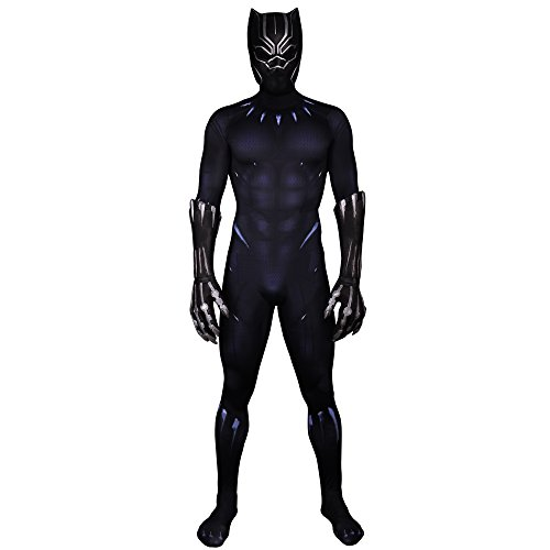 Black Panther Muscle Chest Battle Suit Costume 3D Printed Zentai Mens Jumpsuit Full Set M ()