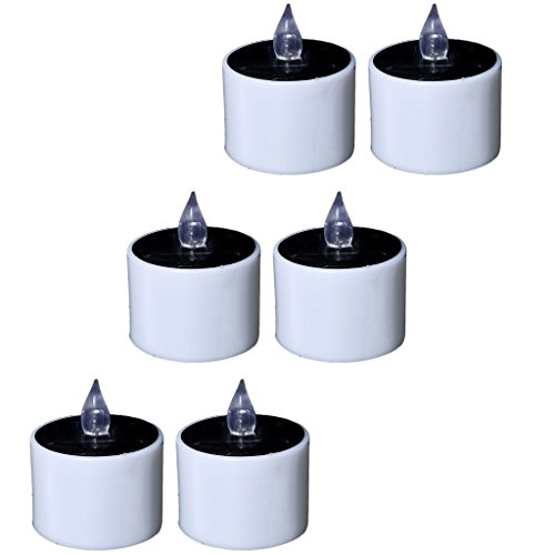 Fityle Flameless Solar Tealight Candles for Camping, Home, Window, Yard Decor in White by Fityle (Image #4)