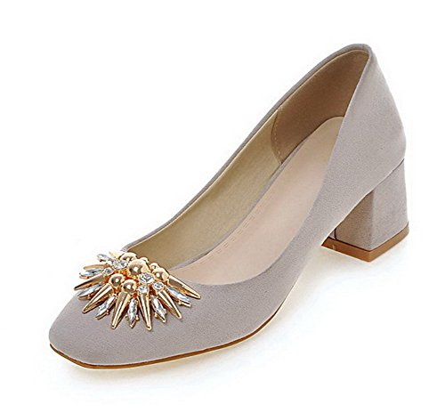 VogueZone009 Women's Solid Imitated Suede Kitten-Heels Square Closed Toe Pull-On Pumps-Shoes Gray JBjSroW