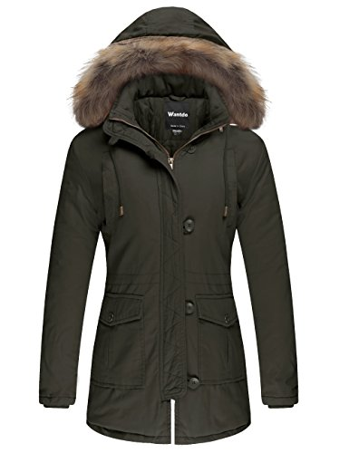Wantdo Women's Cotton Padded Parka Coat with Removable Fur Hood (Army Green, US M) by Wantdo