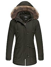 Wantdo Women's Winter Jacket Faux Fur Trim Parka Coat