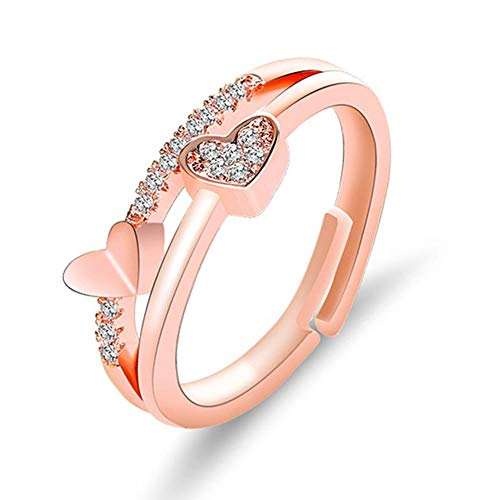 - Aineecy Rhinestone Love Heart Ring Adjustable Infinity Love Heart Open Index Finger Rings for Women Girls Statement Wedding Jewelry(Rose Gold)