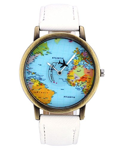 Unisex Watch Quartz Wristwatch World Map Leather Band 1 - 2