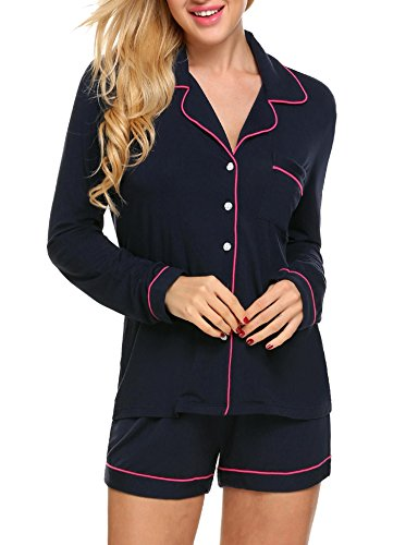 Patchwork Womens Shorts - Goldenfox Women Sleepwear Long Sleeve Patchwork Button Shirts with Pj Shorts Pajama Set (Dark Blue, Small)