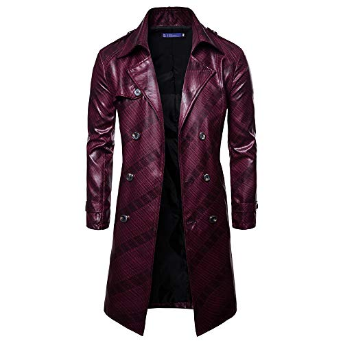 Men Outwear Premium Double Breasted Casual Woolen Pea Coat Notched Collar Long Overcoat Trench Coat Jacket Wine