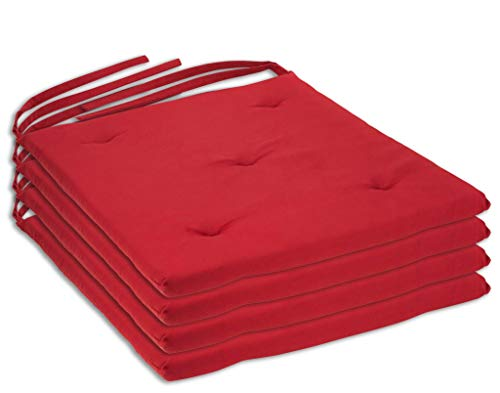 DecorRack 4 Seat Cushion Pads 100% Cotton Cover with Ties, Ideal Chair Pad for Indoor Use, Reversible Square Kitchen Seat Cover Chair Pillows, Modern Red Design 1 inch Lightweight (Pack of 4)