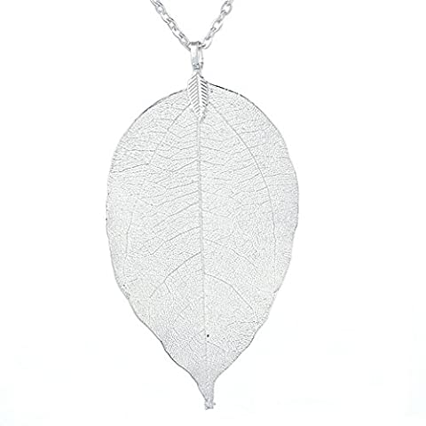 Platinum Dipped Birch Natural Leaf Pendent & Necklace with Siver-Plated Chain Women Costume Jewelry (Chain Silver Pendent)