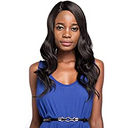 X-TRESS Synthetic Lace Front Wigs Dark Brown Wavy Synthetic Wigs Medium Long Heat Resistant Wigs Synthetic Body Wave Wavy Skin L-part Side Part Lace Front Wigs For Black Women (Dark Brown)