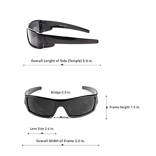 12c955bd6a Sunclassy Mens Dark Polarized Sunglasses Anti Glare Driving Wrap Around  Driving Square Frame Motorcycle Block UVA