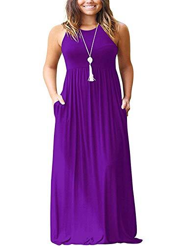 SouqFone Maternity Maxi Dress Women's Casual Long Dresses Empire Waist Beach Dresses - XL, Purple ()
