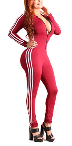 Bluewolfsea Women's Sexy Zipper Front Long Sleeve Bodycon Club Party Long Jumpsuit Rompers X-Large Red by Bluewolfsea