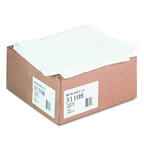 Tatco 31108 Paper Table Cover, Embossed, w/Plastic Liner, 54w x 108l, White (Case of 20)