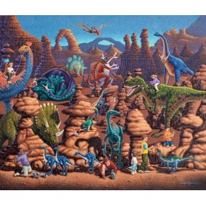 Dinosaur Games 50pc 16x20 Jigsaw Puzzle by Eric Dowdle