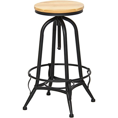Best Choice Products Height Adjustable Vintage Industrial Style Swivel Metal Counter Height Bar Stool