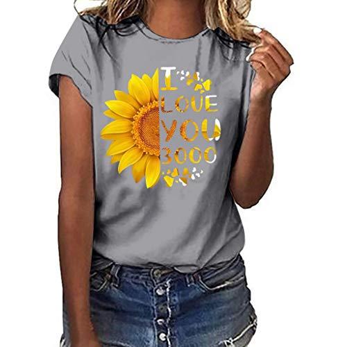 Finedayqi  Woman Dress,I Love You 3000 Women Plus Size Print Shirt Short Sleeve T Shirt Blouse Tops Gray