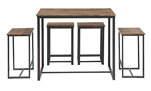 Table Tall Kitchen - Abington Lane Kitchen Table Set - Versatile, Tall, Modern Table Set for Any Room or Occasion (4 Stools)