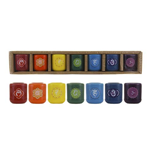 Mega Candles 7 pcs Ceramic 1/2 Inch Diameter Chakra Chime Ritual Spirtual Energy Spell Candle Holders - Assorted Colors