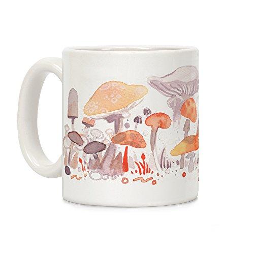 Mushroom Garden Pattern White 11 Ounce Ceramic Coffee Mug by LookHUMAN (Mushroom Cup)