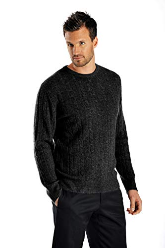 Cashmere Cable Sweater (Cashmere Boutique: Men's 100% Pure Cashmere Cable Sweater in Crew Neck (Color: Black, Size: Large))